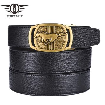 Genuine Leather Belts For Men Gold Silver Horse Logo Men Belts Luxury Automatic Buckle Casual Belt
