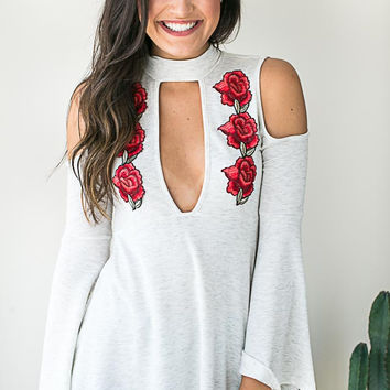 Ruby Red Embroider Cut Out Top