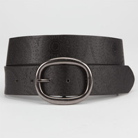 Sunburst Embossed Belt Black  In Sizes