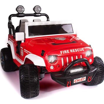 Explorer 12V Kids Ride-On Car Truck with R/C Parental Remote | Fire Rescue