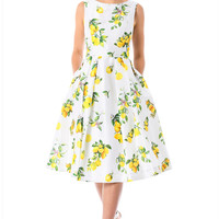 Lemon print dupioni midi dress
