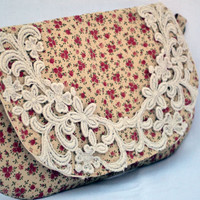 Victorian and crochet lace clutch, purse, snap pouch, clutch, fall clutch, wristlet, pouch