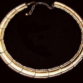 "Crown Trifari Gold Choker Necklace Signed Linked Etched Bars 16"" Vintage"