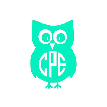 Owl Monogram Icon Decal - For Yeti's, Cars, Laptops, Clipboards, Phones and Much More! Animal Monogram - Owl