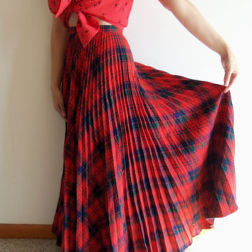 Vintage High Waist Red Plaid Christmas Tartan Indie Hipster Maxi Wool Pleated Skirt
