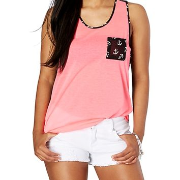 Pink Tossed Anchor Blocked Tank