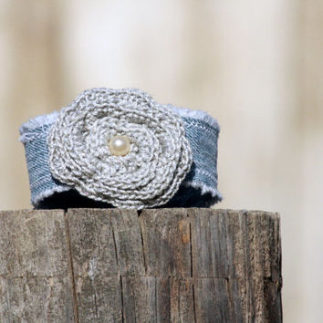 Denim Wrist Cuff With Silver Crocheted Rose - Bracelet - Jewelry Recycle