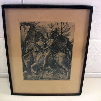 Antique Durer Print 1513 Engraving Knight Death Devil