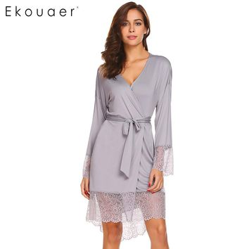 Ekouaer Women Sleepwear Robe Sexy Night Robes Long Sleeve Lace Patchwork Dressing Gown Kimono Robe Nightgown Female Nightwear