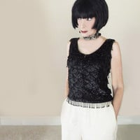 Vintage Black Beaded Fringe Top - Early 1960s Black Evening Tank - Beads & Sequins