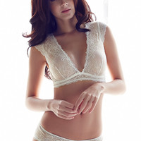 Full cup hollowed- out lace bra deep v lingerie set ultra-thin unlined bra and panty set S M L white black