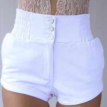 Lazy Days Shorts (White) | Xenia Boutique | Women's fashion for Less - Fast Shipping