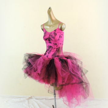 adult tutu, high low tutu dress, hot pink black, tye dye tie dye tutu dress, 80's tutu dress, goth gothic dress, edc rave tutu dress,