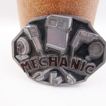 Mechanic Belt Buckle Auto Mechanic Vintage Construction Free Shipping - FL