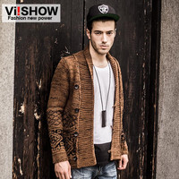 Viishow single breasted slim fit sweater men cardigan