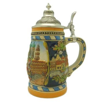 German Gift Beer Mug Munich Scene Metal Lid