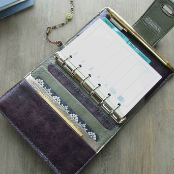 planner binder, antique cassis, purple planner, locked diary, planner, purple journal, for filofax refills, leather binder, handstitched