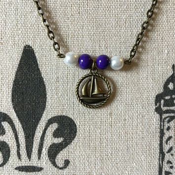 Sorority Jewelry, Sigma Sigma Sigma, Big Sis, Little Sis, Sorority Necklace, Sorority Gift, Sailboat Jewelry, Nautical Sailing Ship Necklace