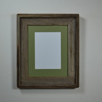 8x10 barn wood wood picture frame with 5x7 or 8x6 green mat