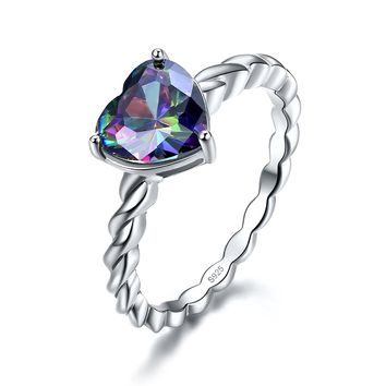 Merthus 2.85ct Heart Mystic Rainbow Topaz Rope Design Ring 925 Sterling Silver
