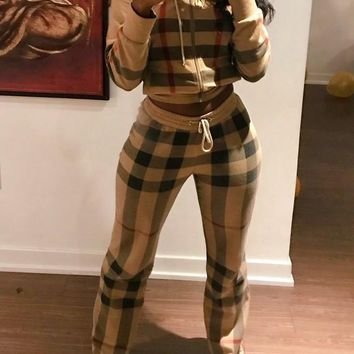 Khaki Drawstring Pleated Two Piece Checkered Hooded Casual Long Jumpsuit