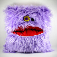 Plush Purple Faux Fur Monster Pillow with a Zipper Pocket Mouth and Button Eyes