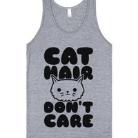 Cat Hair Don't Care-Unisex Athletic Grey Tank