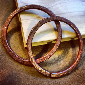 "4g Solid Copper Hammered Hoops - Earrings for Stretched Lobes, 3"" Outer Diameter - Gauges - Gauged Hoops"