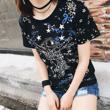 """Givenchy"" Unisex Personality Galaxy Gypsophila Robot Print Short Sleeve Couple Loose T-shirt Top Tee"