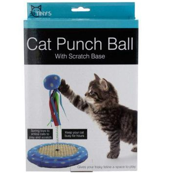 Cat Punch Ball Toy with Scratch Base (Available in a pack of 4)