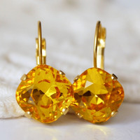 Yellow Earrings... Swarovski Crystal Cushion Cut Square Earrings... Gold... Sunflower Yellow