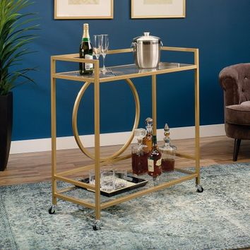 Sauder International Lux Bar Car, Satin Gold - Walmart.com