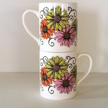 1965 Vintage FLOWER POWER Holt Howard Mugs - Super Retro Kitchen Coffee Mug Set with Bright Purple Green and Orange Daisies - 60's Tea Cups