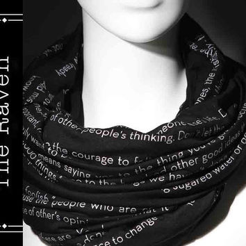 The Raven poem on the scarf - Scarf - Infinity scarf - Black -Text Scarf - Book - Edgar Allan Poe - Poetry