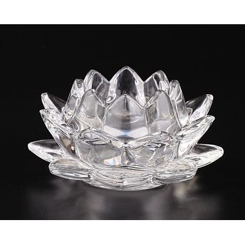 Clear Glass Lotus Candle Holder
