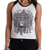 Elephant Graphic Baseball Muscle Tee by Charlotte Russe