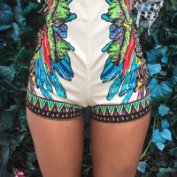 Indian Pattern Print High Waisted Shorts