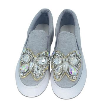 Women handmade Fujin rhinestone flat platform ladies lace  casual shoes