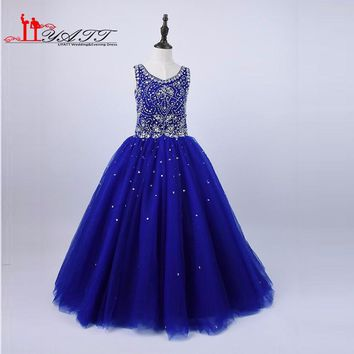 2017 Royal Blue Ball Gown Girls Pageant Dresses Crystal Beading Organza Girls Prom Party Gowns Flower Girl Dresses For Weddings