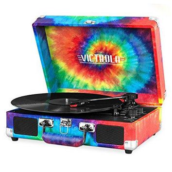 Innovative Technology - Victrola Vintage 3-Speed Bluetooth Suitcase Turntable with Speakers, Tie Dye