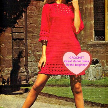 MOD Mini Lace Dress 1960s Vintage Crochet Pattern Great for Beginners Beginner Crochet Pattern Easy Shift Dress Mini Dress Pattern Party