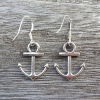 Earring- Silver Anchor  Earring / Sterling silver ear hook