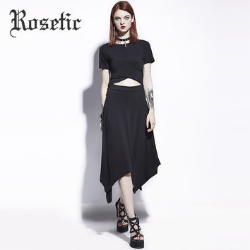 Rosetic Gothic Dress Asymmetrical Black Hollow Pleated Women Summer Casual Dress Goth Fashion A-Line Travel Party Gothics Dress
