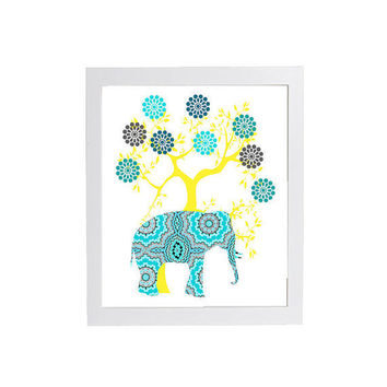 Trendy Modern Nursery Art Animals in Turquoise Yellow Quilted Aztec  8 x 10 Unframed