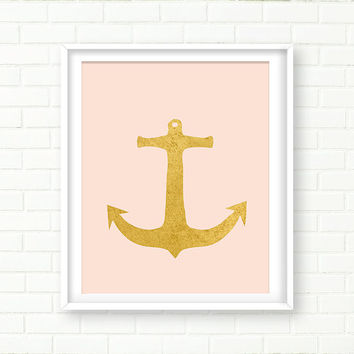 Gold Anchor,  PRINTABLE Nautical Decor, Blush Pink Wall Art,Gold Foil,Vanity Decor, Gold Wall Art, Baby Girl Nursery, INSTANT DOWNLOAD