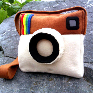 Instagram sign, Instagram Logo bag, Photo camera bag, photo camera purse, Instagram Logo cosmetic, Instagram handbags.