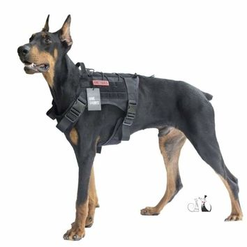 Tactical Military Water-Resistant MOLLE Training Harness for Service Dog