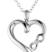 "Sterling Silver Diamond Accent ""Infinite Love"" Engraving Heart Pendant Necklace, 18"""