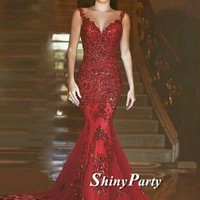 V Neck Sleeveless Mermaid Red Prom Dress With Train, Red Mermaid Formal Dress