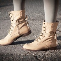 Blossom Cana-16 Round Toe Lace Up Fold over Cuff Ankle Boot (Nude) - Shoes 4 U Las Vegas